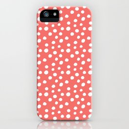 Coral White Large Random Polka Dots Pattern iPhone Case