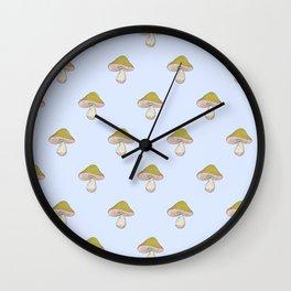 Capped Fellow pattern in blue Wall Clock