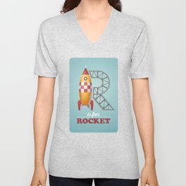 R is for Rocket Unisex V-Neck