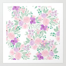 Modern pink purple floral watercolor pattern Art Print
