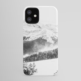 Fresh Snow Dust // Black and White Powder Day on the Mountain iPhone Case