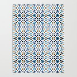 Oriental Mosaic Pattern 3 Blue - Morocco Style Poster