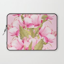 Pink Peonies on a pink background - #Sociey6 #buyart Laptop Sleeve