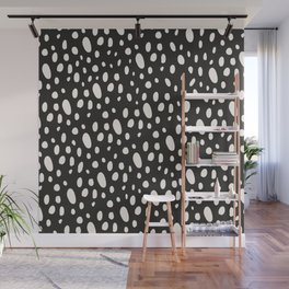Bohemian Pebbles - Dark gray and cream dot pattern Wall Mural