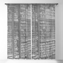 A book lovers dream - Cast-iron Book Alcoves Cincinnati Library black and white photography Sheer Curtain