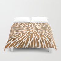 rose gold Duvet Covers featuring Rose Gold Burst by Cat Coquillette