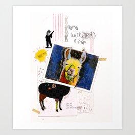 Llama Just Killed A Man Bohemian Rhapsody Llama Collage Art Painting Art Print
