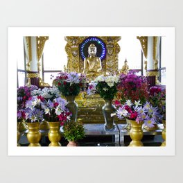 Buddha Shrine a Kuthodaw Pagoda, Myanmar Art Print