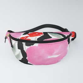 Pink Modern Flowers L.A. Chic Cute Girls Room Pink Abstract Red Flowers Fanny Pack
