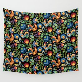 Polish Folk Roosters Wall Tapestry