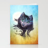 cheshire Stationery Cards featuring Cheshire Cat by Diogo Verissimo