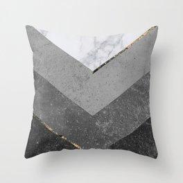Marble Gray Copper Black Gold Chevron Throw Pillow