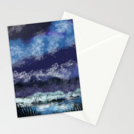 Starry night in the valley Stationery Cards