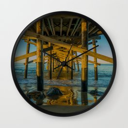 High Tide Under Newport Pier Wall Clock
