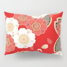Japanese Vintage Red Black White Floral Kimono Pattern Pillow Sham