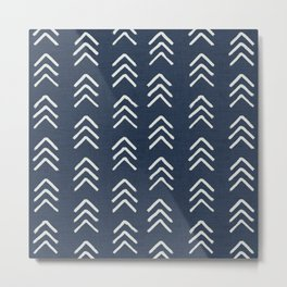 Denim & soft white brushed arrow heads, textured cloth Metal Print