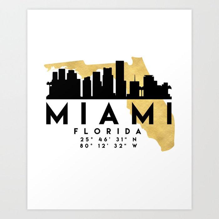Map Miami Florida.Miami Florida Silhouette Skyline Map Art Art Print By Deificusart