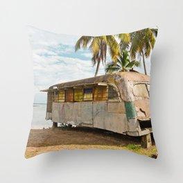 Playa Larga Bus Cuba Beach Hobo House Landscape Tropical Island Home Caribbean Sea Throw Pillow