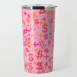 Pink Dollar Signs Travel Mug