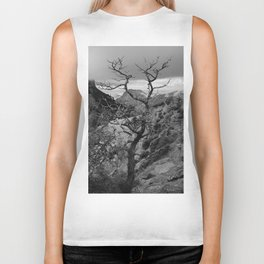 Withered Tree on top of Mountain Range, Big Bend - Landscape Photography Biker Tank