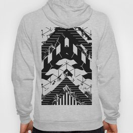 Layered (Black and white, abstract, geometric designs) Hoody