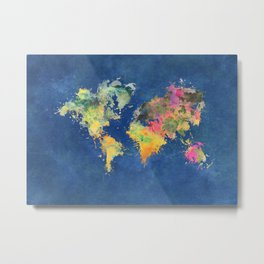 world map 93 #worldmap #map #world Metal Print
