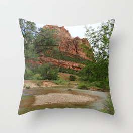 Temple of Sinawava And Virgin River Throw Pillow