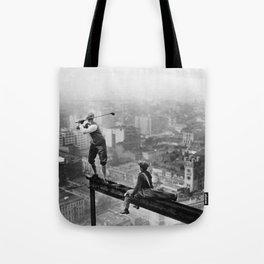 Tough Par Four - Golf Game at 1000 feet black and white photograph Tote Bag