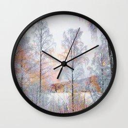 Winter in Norwegian Woods Wall Clock