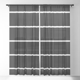 Black White Pinstripes Minimalist Sheer Curtain