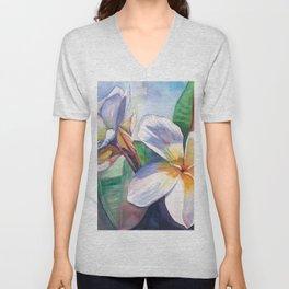 Tropical Plumeria Flowers Unisex V-Neck