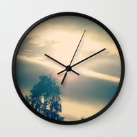 shining Wall Clocks featuring Shining by Eirin Wie Haveland