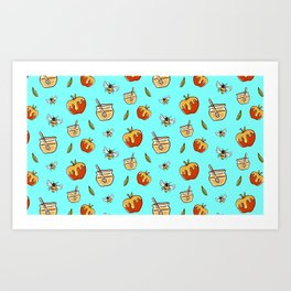 Cute Food Pattern Apples With Honey And Bees Art Print