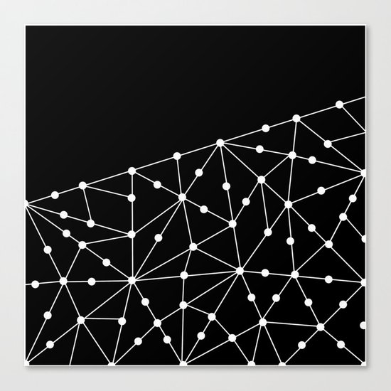 Abstract black and white pattern. Mesh . Canvas Print