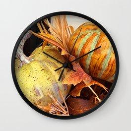 Autumn Artsy Harvest Pumpkins Fall Festival Photo Wall Clock