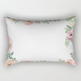 Pink Floral Watercolor Design Rectangular Pillow