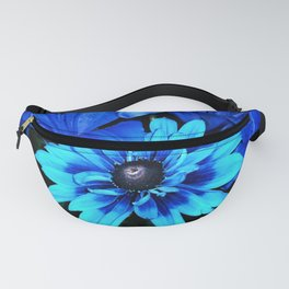 Electric Blue Flowers Fanny Pack