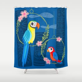 Squeaky Beakies With Freaky Tikis Shower Curtain