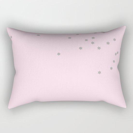 Little grey stars on pink background Rectangular Pillow
