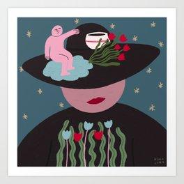 Lady and Hat Art Print