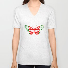 Butterfly Watermelon Summer Fruit Glow Party Funny Unisex V-Neck