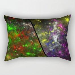 Parallel Universe - Split 'space' artwork showing 2 opposing galaxies Rectangular Pillow