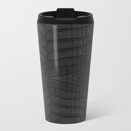 Black Crocodile Leather Print Travel Mug