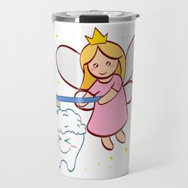 Tooth Fairy Brushing A Cute White Teeth Great Gift For Dentists Doctors, Dental Technician T-shirt Travel Mug