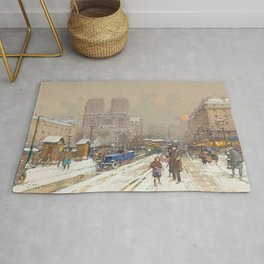Notre Dame, Paris Winter City Scene by Eugene Galien Laloue Rug