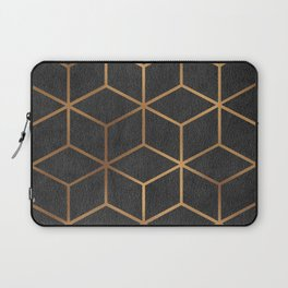 Charcoal and Gold - Geometric Textured Cube Design I Laptop Sleeve