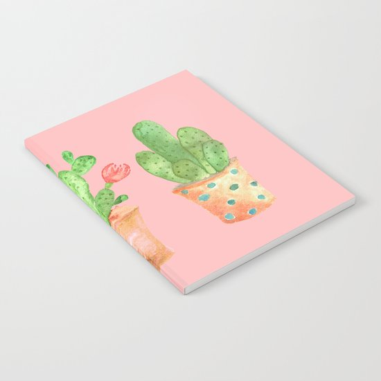 Three Green Cacti On Pink Background Notebook