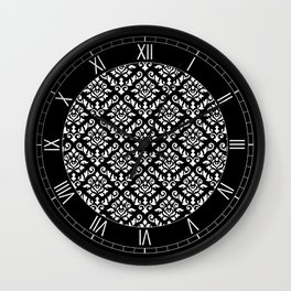 Damask Baroque Repeat Pattern White on Black Wall Clock