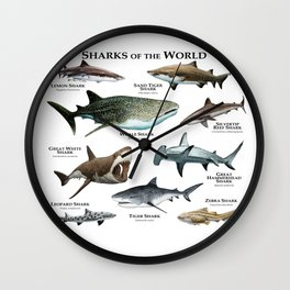 Sharks of the World Wall Clock