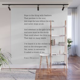 Emily Dickinson Hope is the thing with feathers  Wall Mural